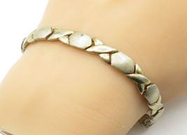 925 Sterling Silver - Vintage Hugs & Kisses XO Link Chain Bracelet - B6448 - $39.66