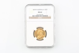 1897-M Australia 1 Sovereign Gold Coin MS-62 NGC Slabbed 1SOV Melbourne ... - $594.00