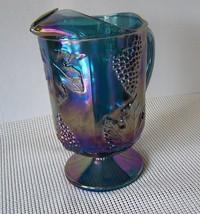 "Indiana Vintage Harvest Grape & Leaves Pattern Carnival Glass Blue 10""  ... - $27.48"