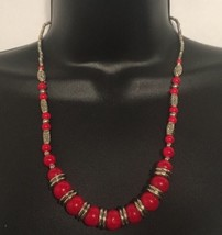 "Beautiful Red Coral Bead Necklace, Lobster Clasp, 21"" - $22.50"