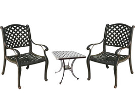 Patio bistro table and chairs Nassau outdoor living cast aluminum furnit... - $692.00