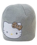 Hello Kitty Knit Gray Beanie with Animal Print Bow Embroidered Face Kids... - $18.19