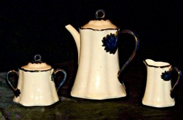 Teapot Creamer and Sugar 1982 Homemade AA20-2233 Vintage Collectible