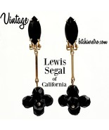 Lewis Segal of California Vintage Earrings with Black Glass Beads - $29.00