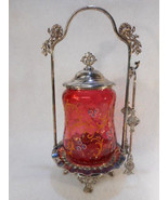Antique Cranberry Glass Handpainted Victorian Pickle Castor with Tongs R... - $1,183.05