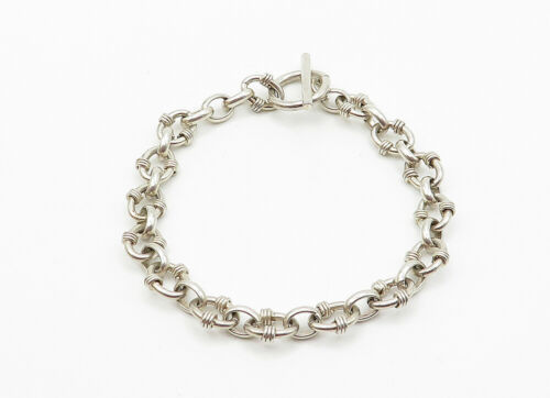 925 Sterling Silver - Vintage Shiny Wire Wrapped Detail Chain Bracelet - B6150 image 3