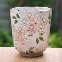 Yunomi Japanese tea cup Kyo Kiyomizu yaki ware Sakura cherry blossom - $52.37