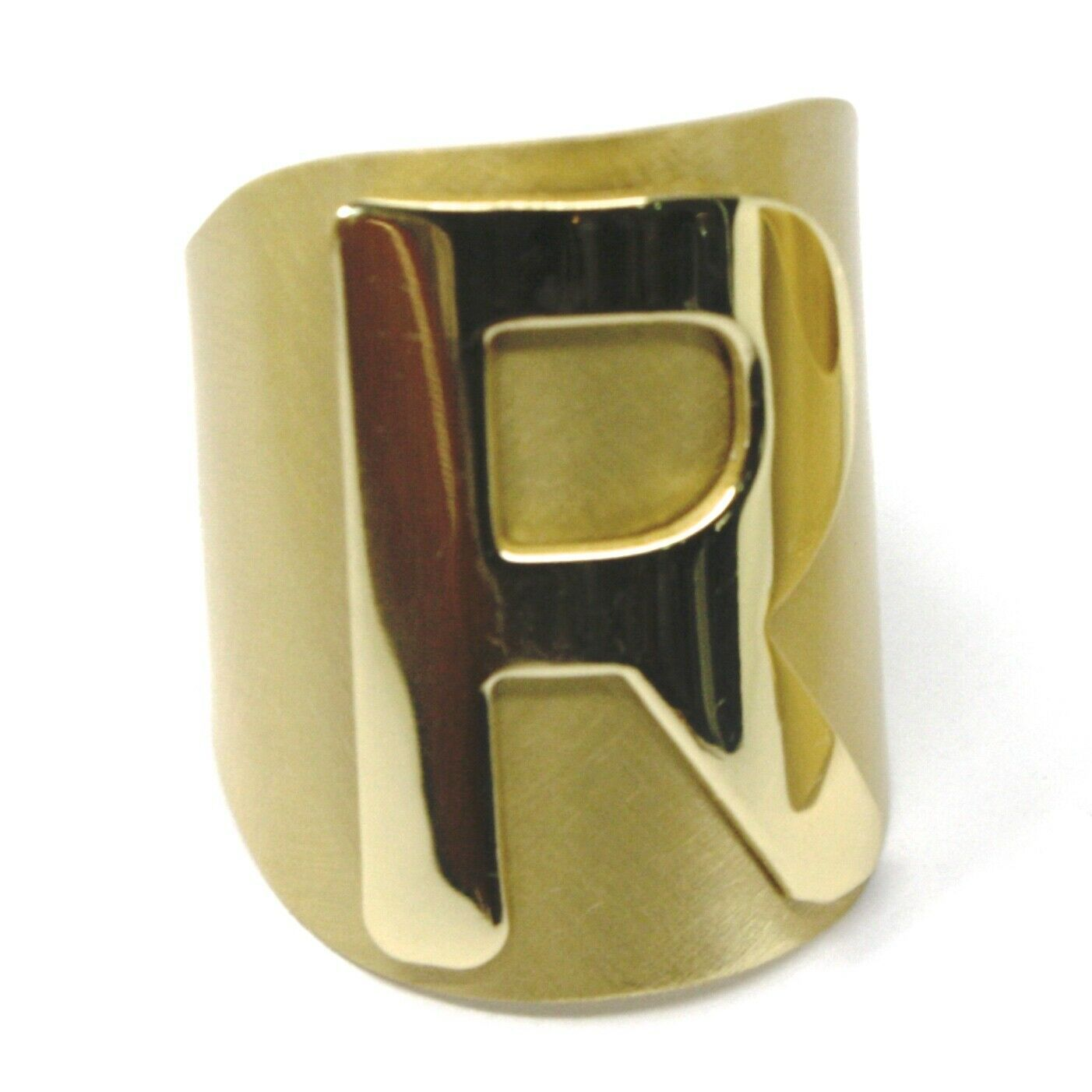 SOLID 925 STERLING SILVER BAND RING, BIG LETTER R, YELLOW SATIN FINISH, SIZABLE
