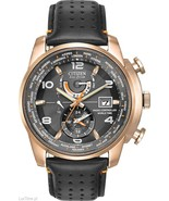 NEW CITIZEN AT9013-03H WORLD TIME A-T ROSE GOLD CASE BLACK LEATHER MEN'S WATCH - $261.35