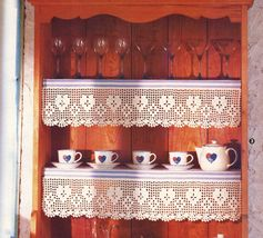 Land of Smiles Asian Wall Decor Country Hutch Garland Shelf Lace CROCHET Pattern image 4