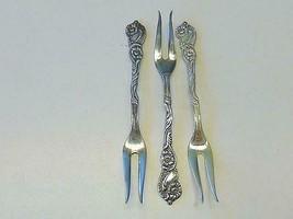 3 Nils Johan Sweden Silverplate 2 Prong Pickle OLIVE Fork w/ Scrolled Fl... - $29.69
