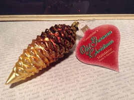 Brown Pine Cone w Gold Hand Blown Glass Ornament Tree Old German Christmas image 7
