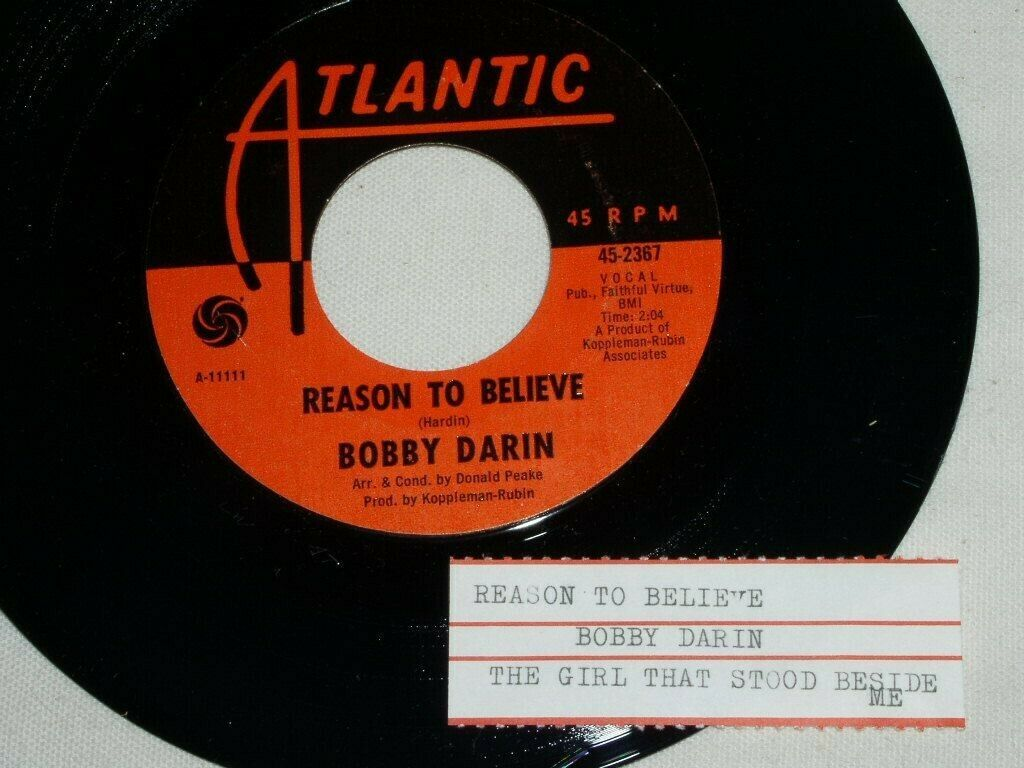 Primary image for BOBBY DARIN REASON TO BELIEVE THE GIRL THAT STOOD 45 RPM RECORD JUKE BOX STRIP
