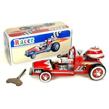 TIN TOY RACE CAR Collectible Classic Wind Up Red Racer Rider Bell Vintag... - $12.88