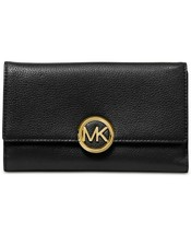 NWT MICHAEL KORS Lillie Pebble Leather Carryall Wallet / Black - £64.05 GBP