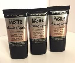 3 - Maybelline Master Strobing Liquid Illuminating Highlighters 100 Light - NEW - $5.63