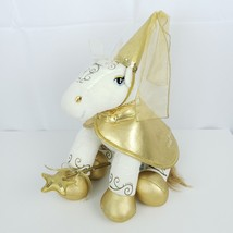 Build A Bear White Gold Enchanted Horse Plush Stuffed With Clothing Hat ... - $24.74