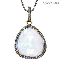 925 Sterling Silver Moonstone Pendant 14k Gold Pave Diamond Antique Look... - $280.50