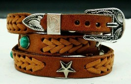 NEW TAN HATBAND Braided Leather w TURQUOISE + STAR CONCHOS & Buckle Set ... - $20.84