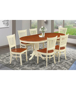 """M&D FURNITURE 7 PC OVAL DINING ROOM SET 42""""x78"""" TABLE & 6 WOODEN CHAIRS - $811.54"""