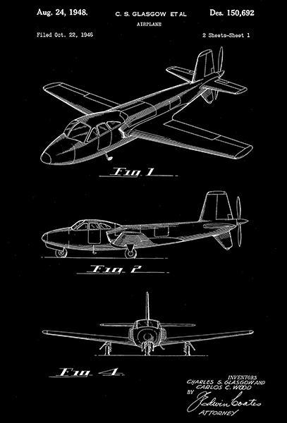 Primary image for 1948 - Douglas Aircraft Airplane - C. S. Glasgow - Patent Art Poster
