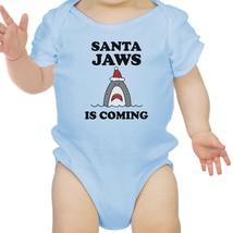 Santa Jaws Is Coming Baby Sky Blue Bodysuit - $13.99