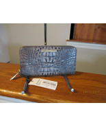 Brahmin Suri Charcoal Sparrow  Greys Embossed Leather Zip Around Wallet NWT - $123.74