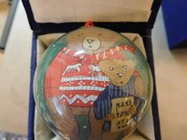 Li Bien Inside Painted Glass Ornament Singing Toy Bears Music Carols  FR... - $13.85