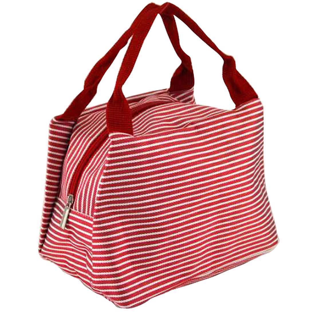 Stripe Lunch Box Carry Bag For Travel Picnic Bags Summer Picnic Items Lunch Box