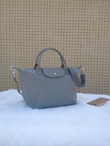 Longchamp Le Pliage Medium Grey Handbag Neo Shoulder Strap Pebble 151257... - $84.99