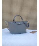 Longchamp Le Pliage Medium Grey Handbag Neo Shoulder Strap Pebble 151257... - $79.99