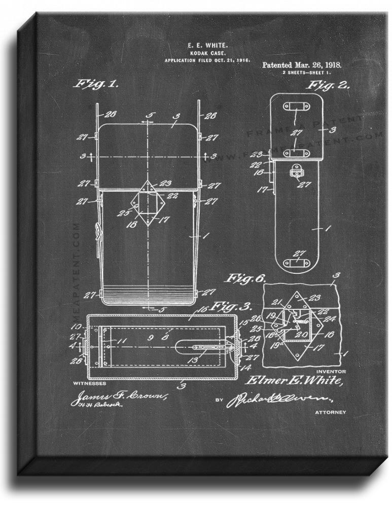 Primary image for Kodak Camera Case Patent Print Chalkboard on Canvas
