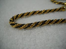 Trifari TM Gold Tone & Black Rope Chain Necklace Choker - $15.95