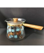 1960s Douglas Flameproof Glass Sauce Pan Turquoise Pinecone Pattern Wood... - $39.99