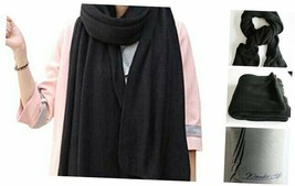 Womens Warm Winter Infinity Scarves Set Blanket Scarf Pure Color Black - $18.32
