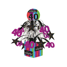 40th Milestone Celebrations Mini Cascade Centerpiece with Base, Case of 6 - £24.16 GBP