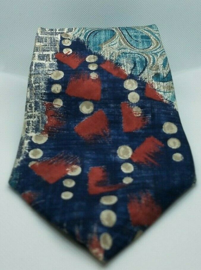 Primary image for Oscar de la Renta Abstract Red, Blue, Green 100% Silk Mens Necktie Made in USA