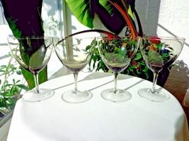 Set of 4 High Quality Crystal Smoke Wine Stemware Glasses Tiffin? - $38.60