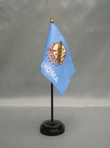 "OKLAHOMA 4X6"" TABLE TOP FLAG W/ BASE NEW US STATE DESKTOP HANDHELD STICK... - $4.95"