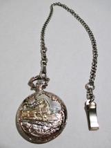 Train Design Quartz Pocket Watch with Chain Two Tone Silver & Copper Col... - $25.08