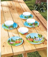 Happy Camper Retro Dish Set Plates Bowls Camping Design Matching Trays M... - $36.49