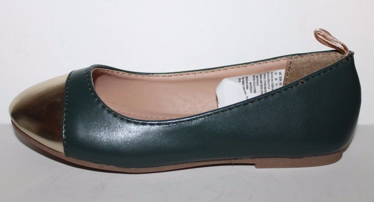 Gap Kids NWOB Girls Green Faux Leather Ballet Flats w/ Gold Toe image 7