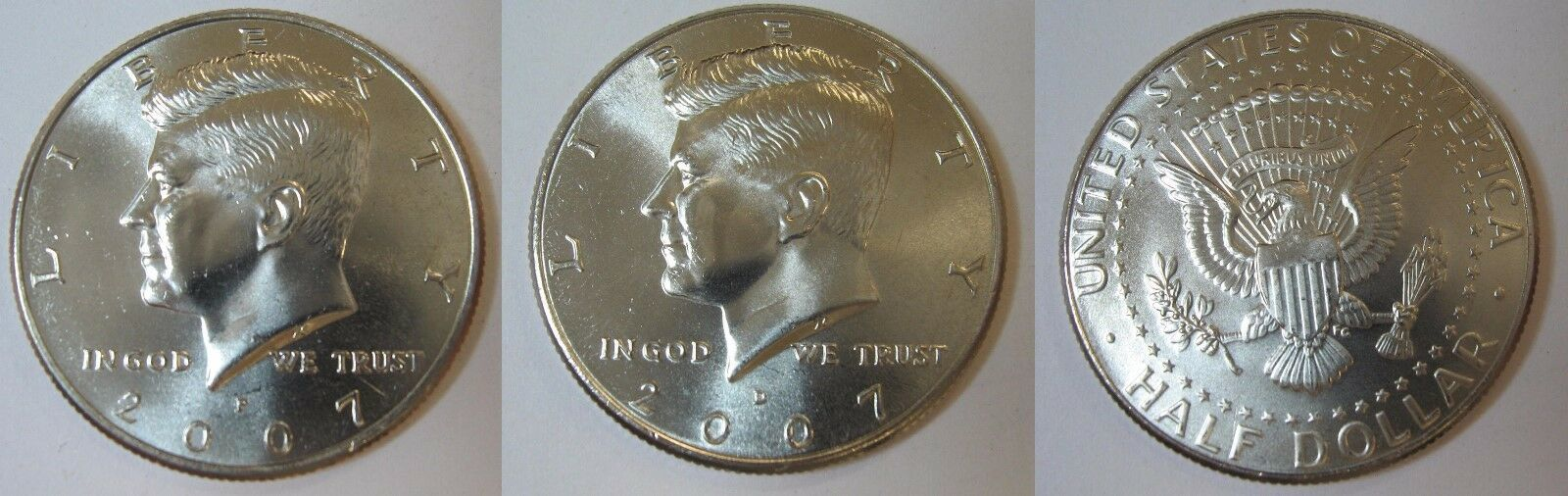 2007 P and D  BU Kennedy Half Dollar from US Mint Roll CP2435
