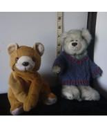 Lot of 2 Stuffed Plush Bears /Smooth Brown Beanie & White Long Hair w/Sw... - $7.71