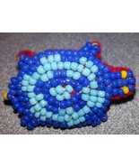 Turtle seed bead pin Handmade New Great gift jewelry beadwork blue red y... - $14.84