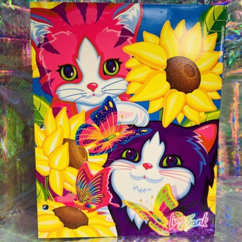 Vintage EUC Lisa Frank 2 Pocket Folder Sunflower Kitties Kittens Cat