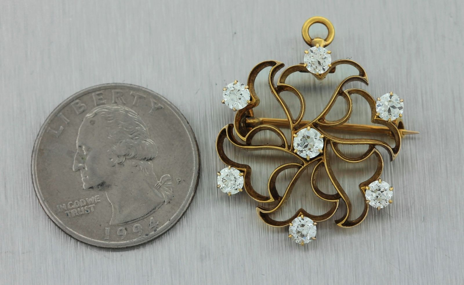 Vintage Tiffany & Co. 14K Yellow Gold 1.40ctw Diamond Floral Pendant Pin Brooch