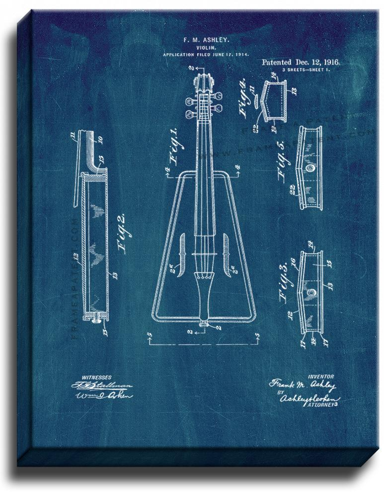 Primary image for Violin Patent Print Midnight Blue on Canvas