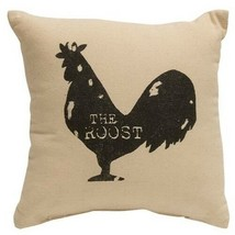 """ROOST"" Tabletop Pillow ""Black Rooster"" FARMHOUSE COUNTRY DECOR  10"" Filled - £15.13 GBP"