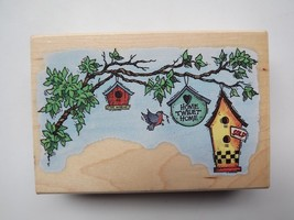 1997 Rubber Stamp Wood Mounted Stampendous P026 Home Tweet Home - $8.56